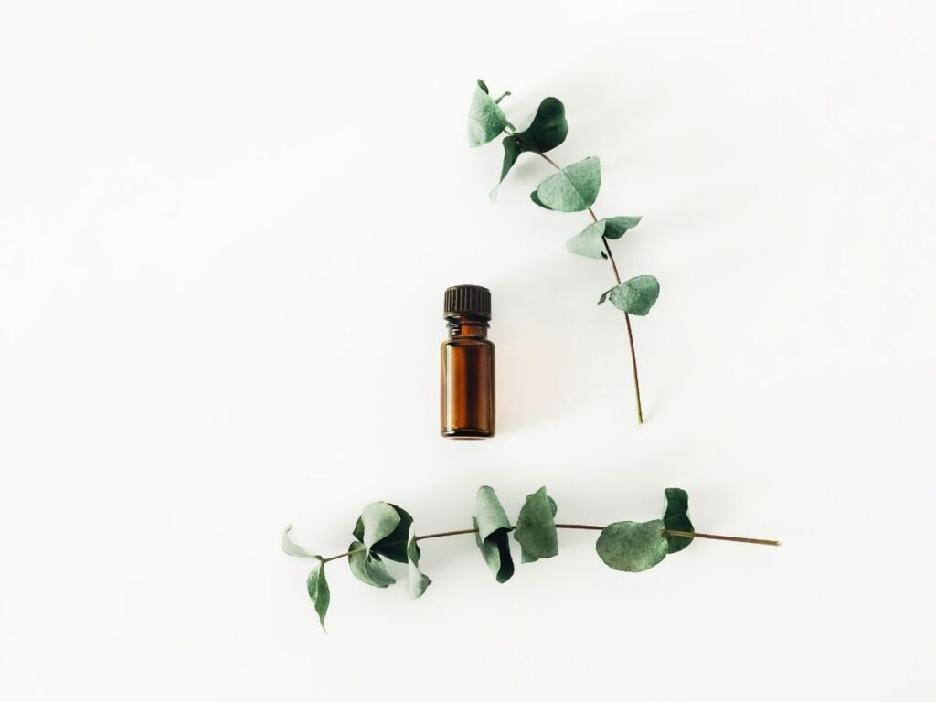 dark amber essential oil bottles with eucalyptus leaves