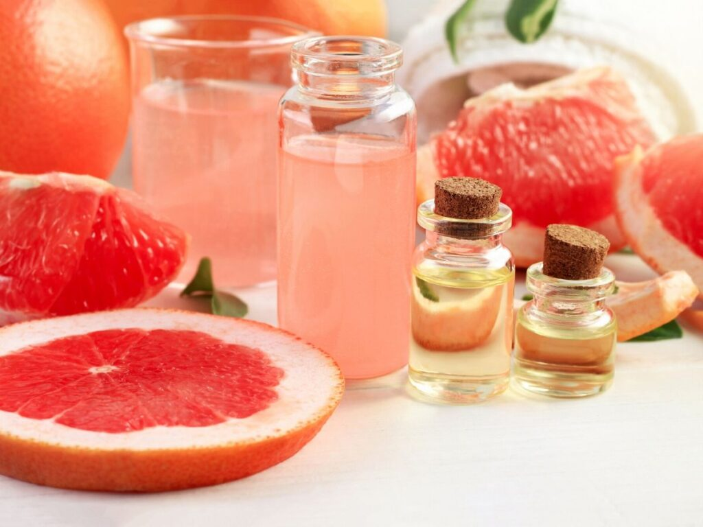 grapefruit sliced with grapefruit juice and essential oil