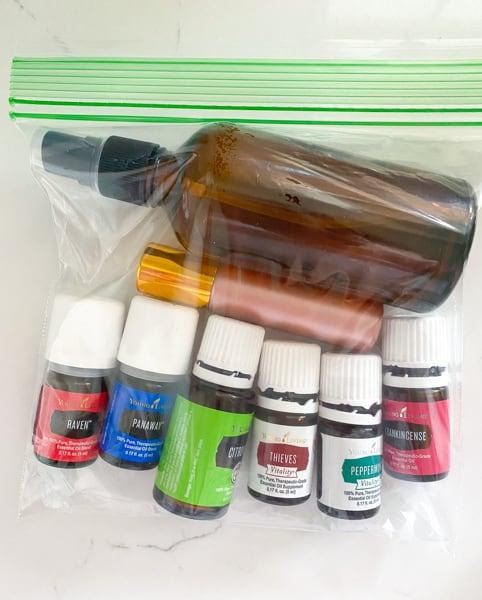 essential oils in a plastic ziploc baggie