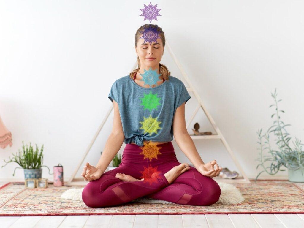 Woman meditation showing third eye chakras.