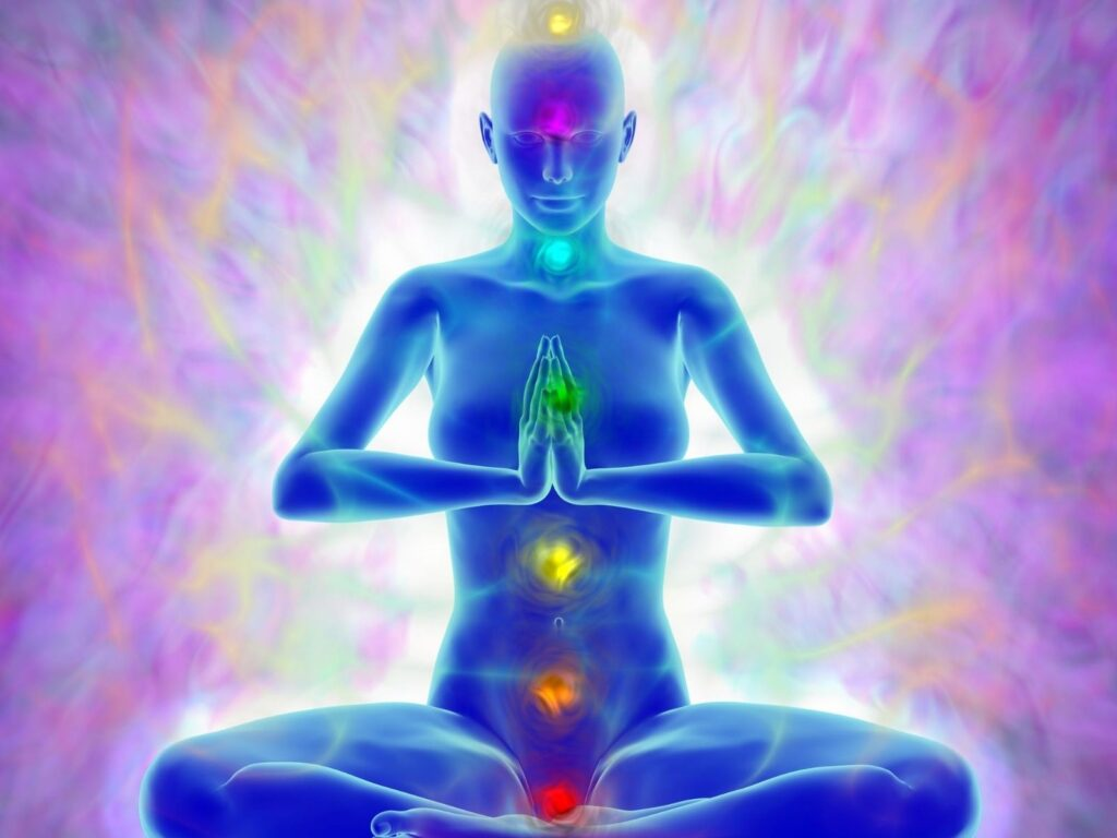 a body meditating showing the 7 energy chakras