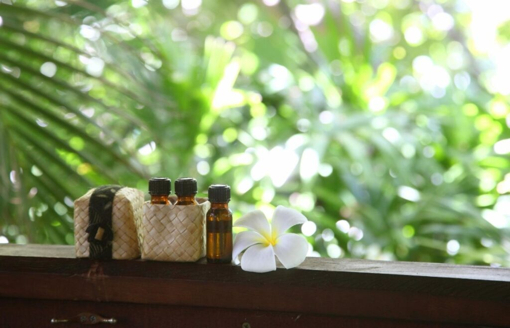 essential oils on a ledge