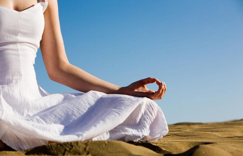 woman meditation outside