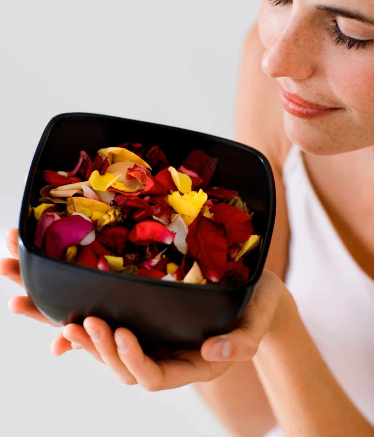 Potpourri in a bowl with diffusing essential oils.