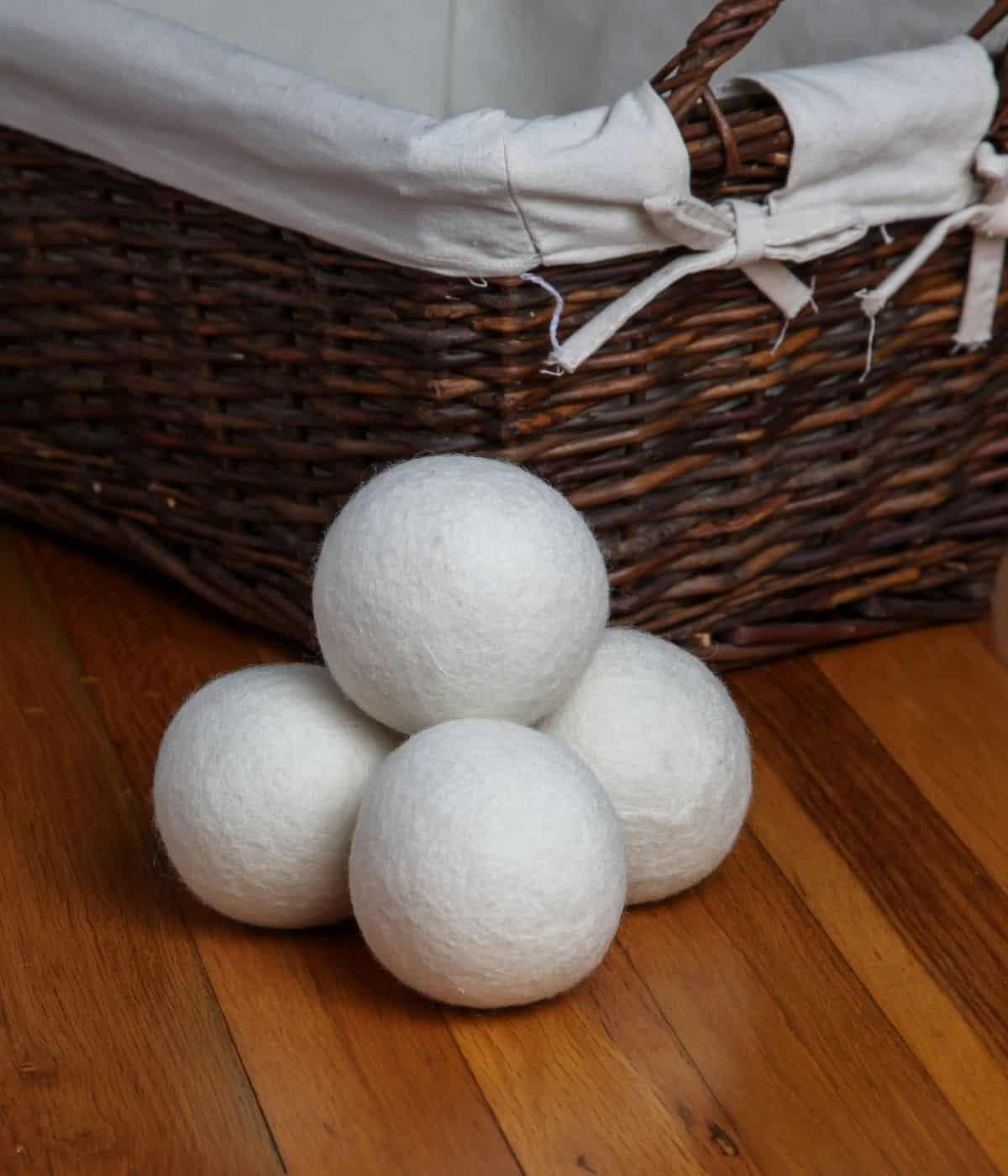 Dryer balls on table.