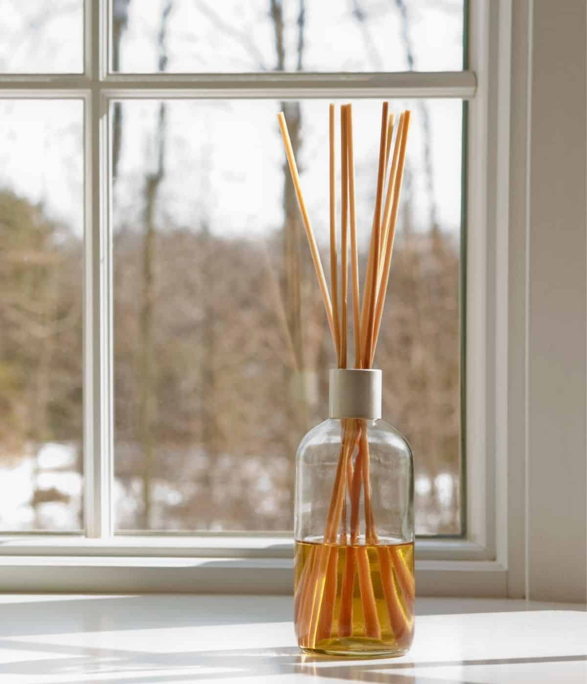 Reed diffuser by a window.